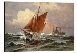 Alu-Dibond  Sailors and steamboat on the North Sea - Willy Stöwer
