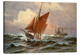 Canvas print  Sailors and steamboat on the North Sea - Willy Stöwer
