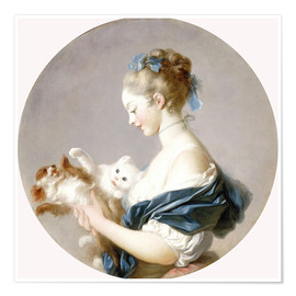 Premium poster Girl with a dog and a cat