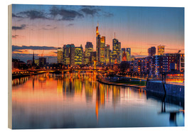 Wood print  Frankfurt skyline at sunset reflected in the Main - HADYPHOTO