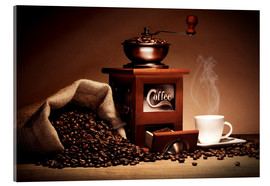 Acrylic print  Coffee grinder with beans and cup - pixelliebe