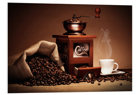 Foam board print  Coffee grinder with beans and cup - pixelliebe