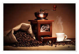 Premium poster  Coffee grinder with beans and cup - pixelliebe