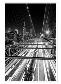 Premium poster  Traffic on Brooklyn Bridge - NYC (monochrome) - Sascha Kilmer