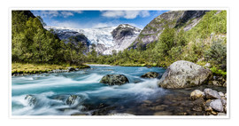 Premium poster Norwegian Wilderness - mountain stream and glaciers