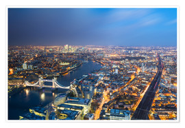 Premium poster  Cityscape of London at night - Circumnavigation