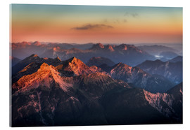 Acrylic glass  Alps Panorama from Zugspitze at Sunrise - Andreas Wonisch