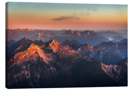 Canvas print  Alps Panorama from Zugspitze at Sunrise - Andreas Wonisch