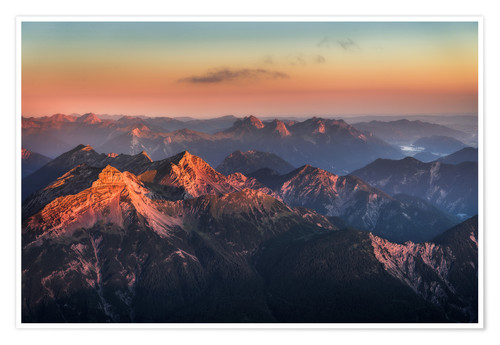 Premium poster Alps Panorama from Zugspitze at Sunrise