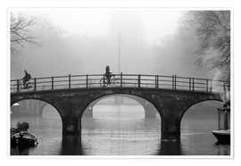 Premium poster  Amsterdam canal in black and white - George Pachantouris