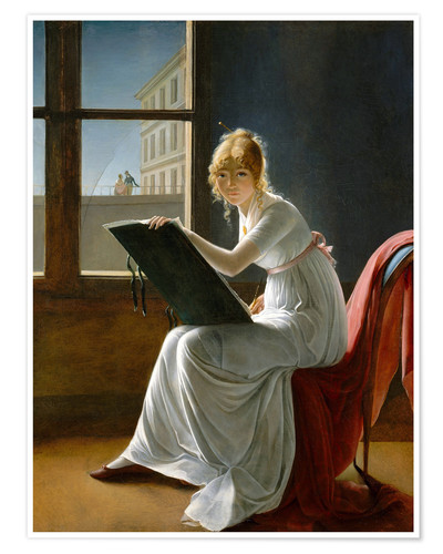 Premium poster Young woman drawing