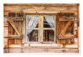 Premium poster  Window of alps cabin, South Tyrol (Italy) - Christian Müringer