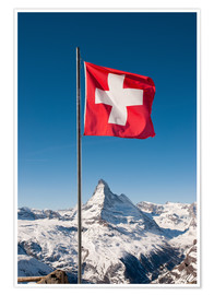 Premium poster  Matterhorn with swiss flag. Zermatt, Switzerland. - Peter Wey