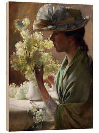 Wood print  Lady with a bouquet (Snowballs) - Charles Courtney Curran