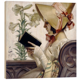 Wood print  Lady with a book - Joseph Christian Leyendecker