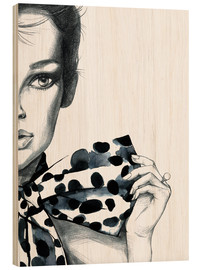 Wood print  Polka dots girl - Rongrong DeVoe