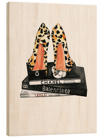 Wood print  Pumps and fashion reading - Rongrong DeVoe