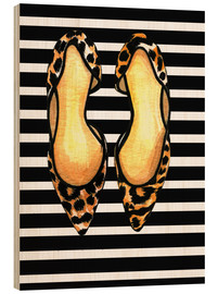 Wood print  Dots on stripes - Rongrong DeVoe
