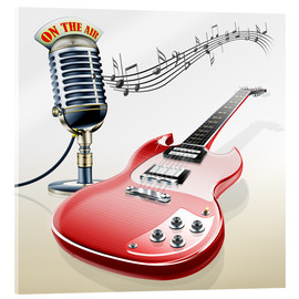 Acrylic print  Electric guitar with microphone and music notes - Kalle60