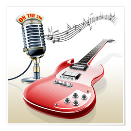 Premium poster  Electric guitar with microphone and music notes - Kalle60