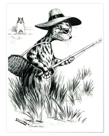 Premium poster  Cat fishing - Louis Wain