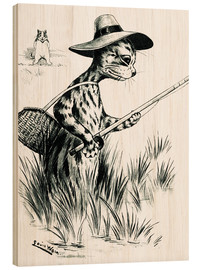 Wood print  Cat fishing - Louis Wain