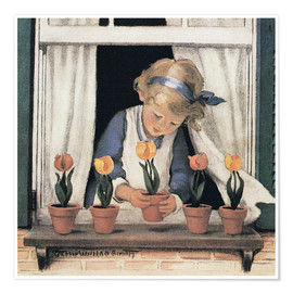 Premium poster  Potting tulips - Jessie Willcox Smith