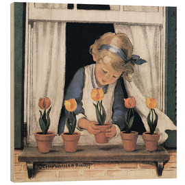 Wood print  Potting tulips - Jessie Willcox Smith