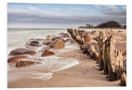Foam board print  Groyne and stones on shore of the Baltic Sea - Rico Ködder