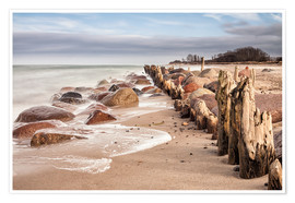 Premium poster Groyne and stones on shore of the Baltic Sea