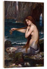 Wood print  The mermaid - John William Waterhouse