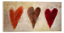 Wood print  3 hearts - Tina Melz