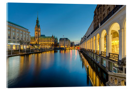 Acrylic print  Hamburg Town Hall and Alsterarkaden - Michael Valjak