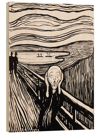 Wood print  The scream - Edvard Munch