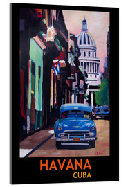 Acrylic print  Blue Oldtimer Street Scene in Havana Cuba with Buena Vista Feeling Poster - M. Bleichner