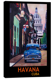 Canvas print  Blue Oldtimer Street Scene in Havana Cuba with Buena Vista Feeling Poster - M. Bleichner