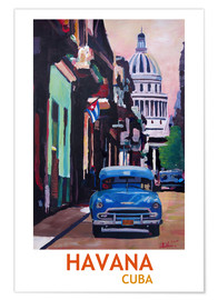 Poster  Cuban Oldtimer Street Scene in Havana Cuba with Buena Vista Feeling Poster - M. Bleichner