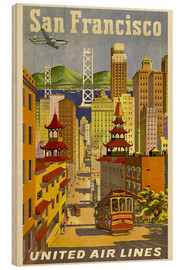 Wood print  United Airlines, San Francisco - Travel Collection
