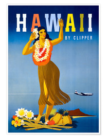 Premium poster  Hawaii by Clipper vintage travel - Travel Collection