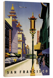 Wood print  United Air Lines San Francisco - Travel Collection