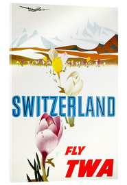 Acrylic print  Switzerland fly with TWA - Travel Collection