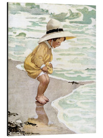 Aluminium print  A little girl playing in the waves - Jessie Willcox Smith