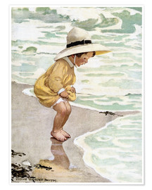 Premium poster  A little girl playing in the waves - Jessie Willcox Smith