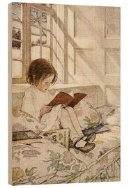 Wood print  Picture books in winter - Jessie Willcox Smith
