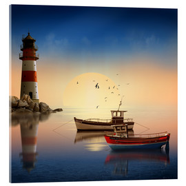 Acrylic print  The morning peace at the lighthouse - Monika Jüngling