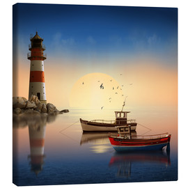 Canvas print  The morning peace at the lighthouse - Monika Jüngling