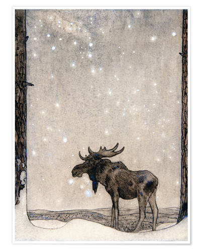 Premium poster Elk in the Snow
