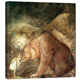 Canvas  she kissed the bear on the nose - John Bauer