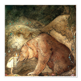Poster  Kiss on the nose of a bear - John Bauer
