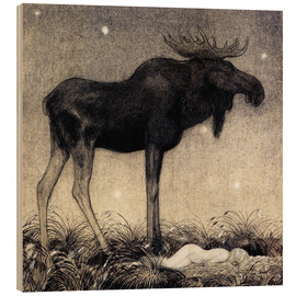Wood print  Moose Skutt and Princess Tuvstarr - John Bauer